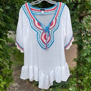 Another Story Flowy Top With Crochet Detailing